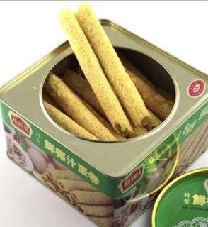 德成號蛋卷 大罐800克 鮮椰汁蛋卷(綠色罐)