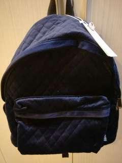 🚚 深藍色 菱格 絨布大容量背包