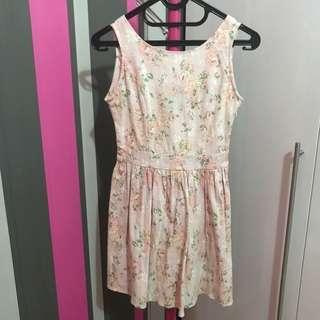 korean pink floral dress