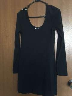 All about Eve size 10 black bodycon long sleeve dress