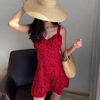 🚚 INSTOCKS leopard mini dress - red