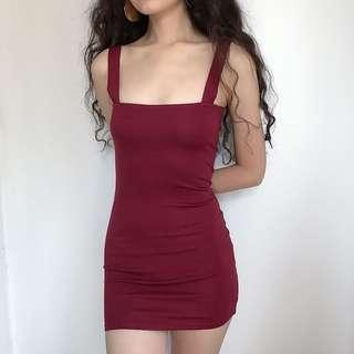 🚚 INSTOCKS Anna Bodycon Fitted Dress - Maroon Red