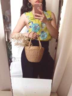 NEW Zara Floral Green Yellow Summer Top (Free Ongkir)