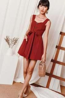 Zoey Button Playsuit in Brick