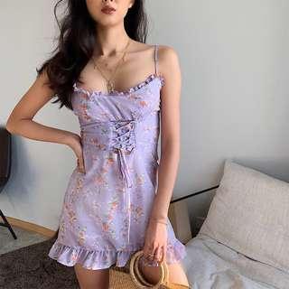 🚚 INSTOCKS Frannie lace up corset front floral dress - purple