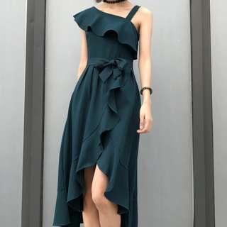 Dark Olive green dress slight off shoulder