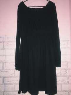 dress wanita warna hitam tangan panjang