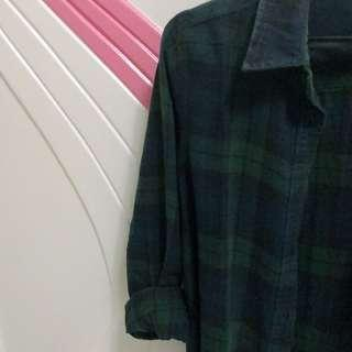 Blue & Green Flannel Top