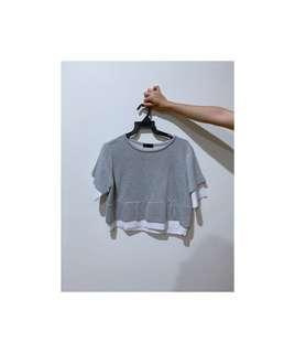 """🚚 seed grey & white """"double-layered"""" top"""