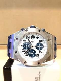 """Pre Owned Audemars Piguet Royal Oak Offshore 26170ST """"Navy"""" White Dial Automatic Steel Casing Leather"""