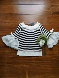 Brand new black and white stripe top