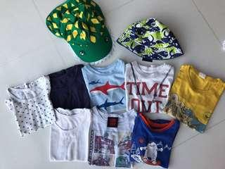 2 year T shirts and two hats