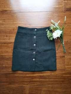 Green button down skirt