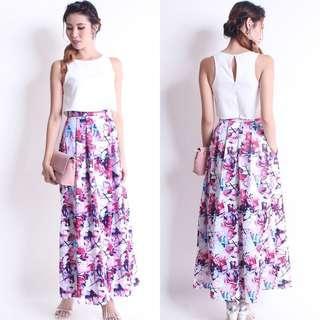 Neonmello Maeva Crop Maxi Dress in Floral
