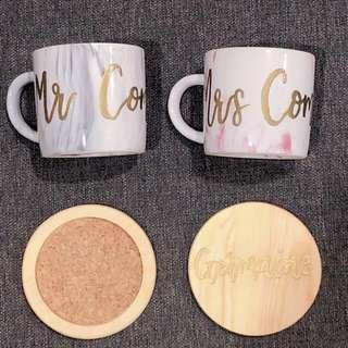 🚚 vday couple marble mug set