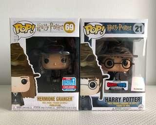 Funko Pop Harry Potter & Hermione Granger with Sorting Hat