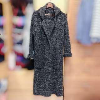 🚚 NET超長版混色毛衣外套/黑灰色