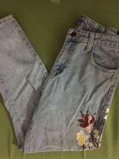 Embroided Light Denim Pants