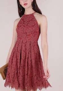 TTR Coral lace halter dress