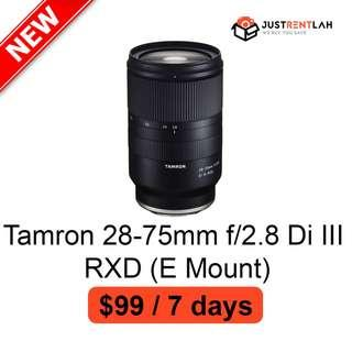 [RENT] Tamron 28-75mm f/2.8 Di III RXD Lens for Sony (E Mount)