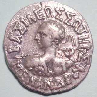 🚚 Beautiful conditioned Menander I Soter Drachm, 155 - 130 BC