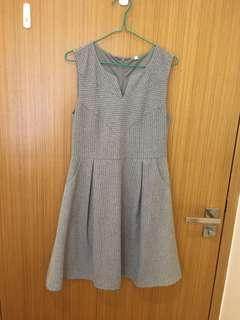 Grey pin stripe flare Dress
