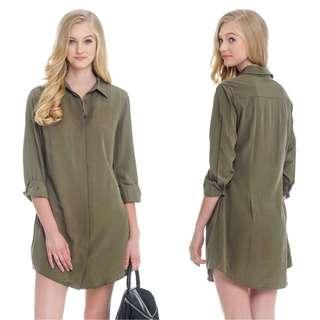 The Closet Lover TCL Everyday Shirt Dress in Olive