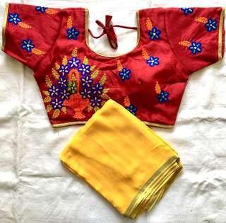 Readymade Saree blouse and Saree colours can be mixed