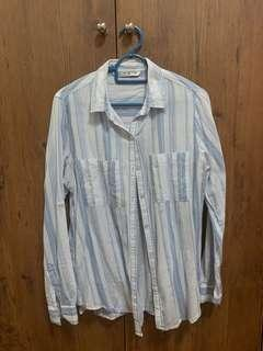 COTTON ON Blue white striped button down top