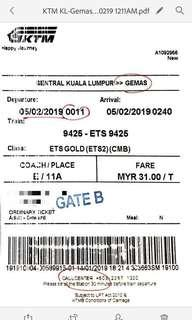 KTM ORI TICKET <KL-GEMAS> 050219