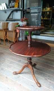 Vintage Americana。復古事 1940年代 雙層點心桌 桃花心木