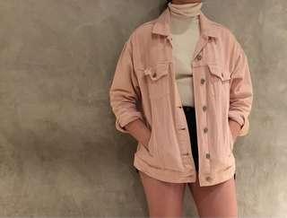 Bershka Oversized Pink Denim Jacket
