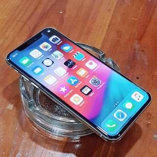 iPhone X 64GB iBox Silver Fullset Mulus Lengkap