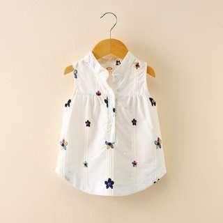 🚚 Trendy White Sleeveless Dress with Floral Embroidery (NCD 014)