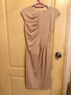 Goddiva pink beige work dress