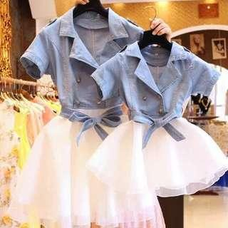 [Ready Stock] Matching Mother and Daughter Dress with Tutu Set