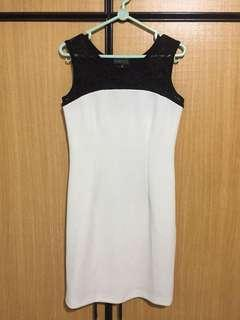 Black lace white dress sleeveless