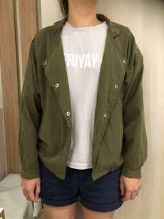 Olive green outerwear jacket
