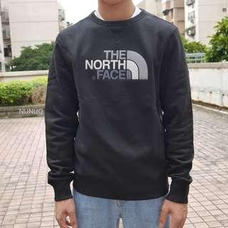 The North Face 大學T 刺繡 Drew Peak Crew Neck 大Logo 北臉 刷毛 黑色 長袖
