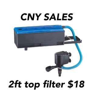 CNY sales $18 2ft top filter with pump
