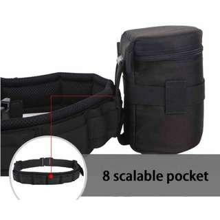 Waist Padded Belt For Lens Holder + Lens Pouch (Wear-resistant & Shockproof Pouch)