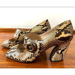 Prada Snake Skin with Strap and Button Open Pumps with Heels