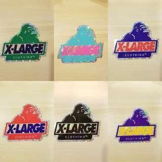 X-LARGE猿人Logo鐳射貼紙 (6色選)
