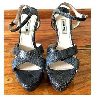 Miu Miu Snake Skin Dark Blue Shoes with Block Heels