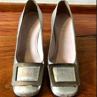 Celine Croc Stamped Silver Pumps with Kitten Heels and Buckle Accent