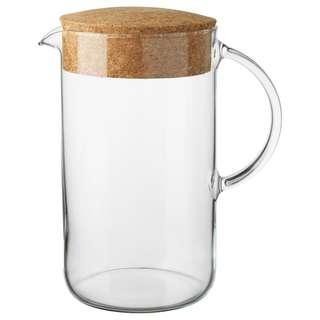 Clear Glass Water Jug with Cork lid 北歐軟木蓋透明玻璃水瓶