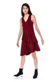 TEM Warren Ruffle Trim Dress (Maroon)