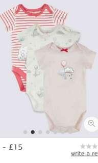 M&S Baby Girl Rompers 3 for $15
