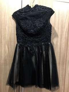 Ladies organza black lace evening dress