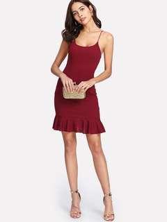 Ruffle Hem Form Fitted Cani Dress